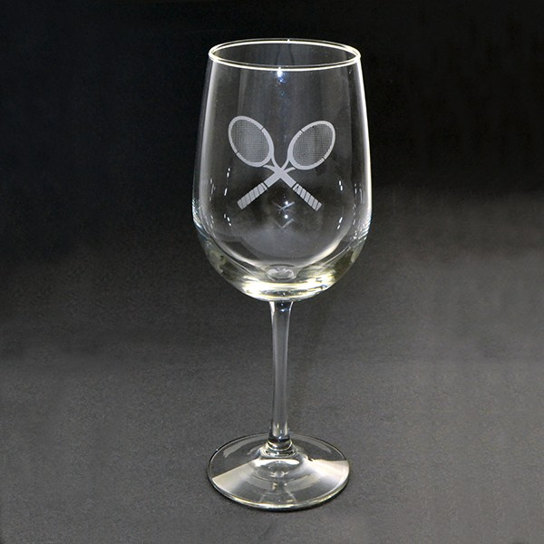 Wine Glass W/Etched Cross Racquet Design