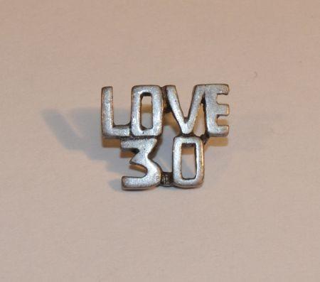 """Tennis """"Love 30"""" Pin, Pewter"""