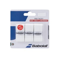 Babolat Pro Tacky Tennis Overgrip 3 Pack - White