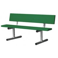 7.5' Permanent Bench with Back Forest Green