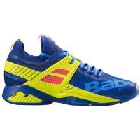 Babolat Men's Propulse Rage AC Tennis Shoe Blue and Fluo Aero