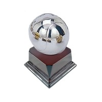 Silver Plated Tennis Ball Pewterware With 3 1/8 Rosewood Base