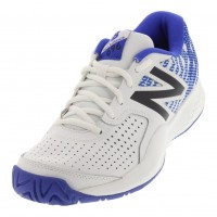 New Balance 696v3 White with Royal Blue Men's Tennis Shoe