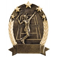 Five Star Tennis Resin Sculpture Female 6 1/2""