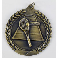 "Tennis Die Cast Medal 2 3/4""-Gold"