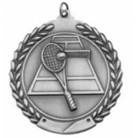 """Tennis Die Cast Medal 2 3/4""""-Silver"""