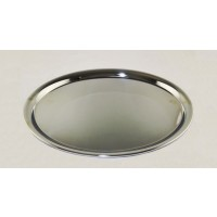 Plain Oval Chrome Tray Medium 11 1/4 x 8 3/4