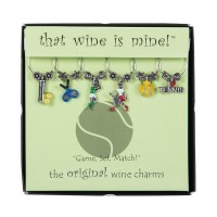 "Tennis Wine Glass Charms ""Game, Set, Match"""