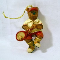 Xmas Ornament Bear w/Racquet