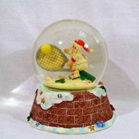 ***Closeout - due to some warehouse damage***  Glass Snow Globe Small Santa/Large Racquet