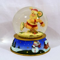 ***Closeout -  due to some warehouse damage*** Glass Snow Globe Large Santa w/Racquet