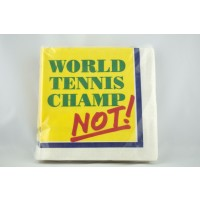 "Tennis Beverage Napkin ""Champ/Not"""