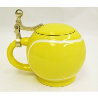 Ceramic Tennis Mug w/Aluminum Lid