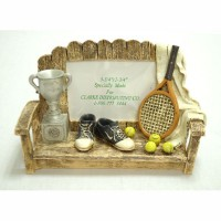 Tennis Bench Poly Resin Desk Pc. (Picture size: 3-3/4 x 2-3/4)