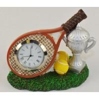Tennis Desk Clock - Hand painted resin sculpture