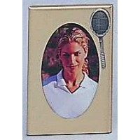 Brass w/Pewter Racquet Frame Large (Picture size: 3-1/2 x 5)