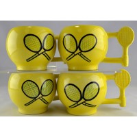 Tennis Ceramic Ball Handle Mug Set/4