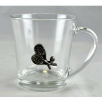 Glass Coffee Mug w/Pewter Emblem
