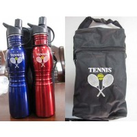Tennis Design 2 Piece Metallic Aluminum Bottle Activity Set