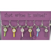 Tennis Racquet Wine Charms set of 6