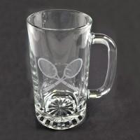 Beer Mug W/Etched Cross Racquet Design 16oz