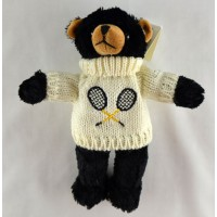 "Tennis Black Bear w/White Sweater (9"")"