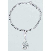 Sterling Silver Bracelet w/Single Racquet