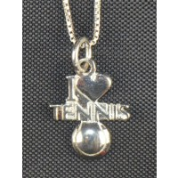 """""""I Love Tennis"""" Necklace, Silver"""