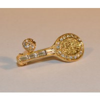 Racquet & Ball w/Crystals Pin, Gold