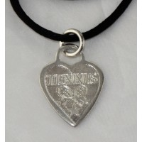 Heart Charm Necklace on Satin Cord, Silver