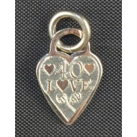 Sterling Silver Heart Charm-Small-40 Love