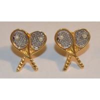 Cross Racquet Post Earrings