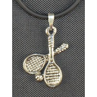 Crossed Racquet Necklace Black Cord