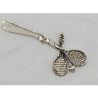 Silver Crossed Racquet Zipper Pull