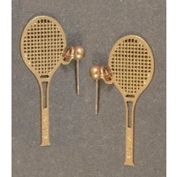 Racquet Earrings, Gold