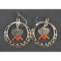 Crossed Racquets in Circle Earrings