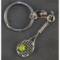 Tennis Racquet & Ball Keyring, Silver