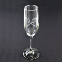 Champaign Glass W/Etched Cross Racquet Design
