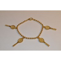 Gold Plated Bracelet w/Racquets