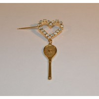 Heart w/Tennis Brooch Racquet
