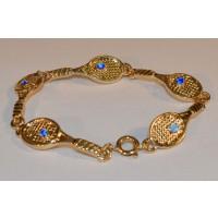 Racquet Link Bracelet w/Blue Crystal