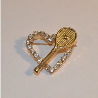 Crystal Heart Pin w/Racquet