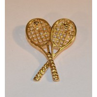 Gold Crossed Racquets Pin
