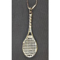 Large Sterling Racquet Pendant/Chain