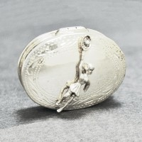 "Sterling Silver Snuff Box Pendant w/Lady Player 2.5"" x 3"""