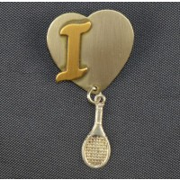 Heart w/Racquet Pin