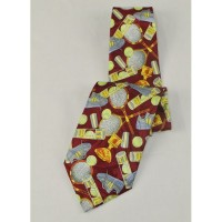 Tennis Tie-Multi Print-Burgundy