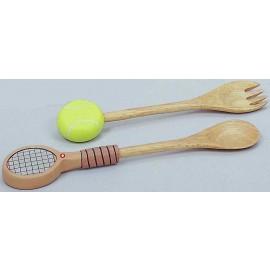 "Wood Tennis Salad Utensils-Hand Painted (11"")"
