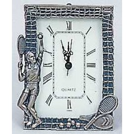 Pewter Tennis Desk Clock-Male