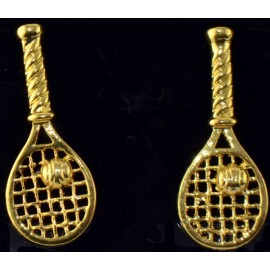 Tennis Racquet Earrings Two Tone, Gold
